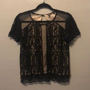Short sleeve black lace top